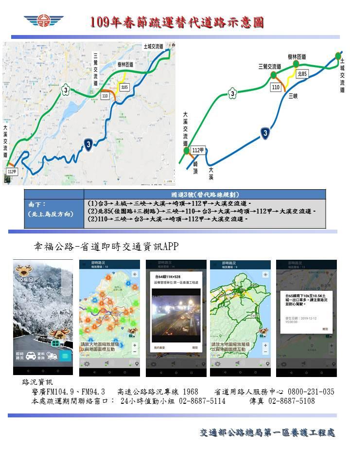 新北地區省道疏運措施(圖片來源:交通部公路總局)