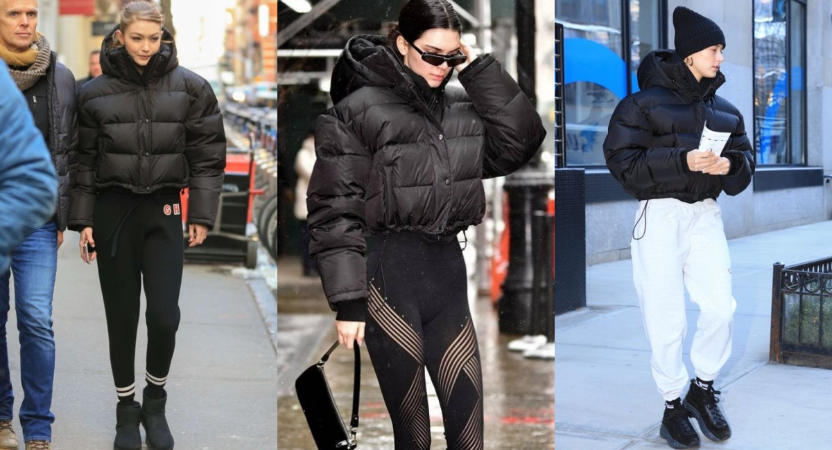包括Gigi Hadid、Kendall jenner、hailey baldwin都曾穿著黑色的puffy jacket現身