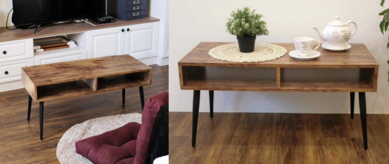 要讓家裡有咖啡廳氛圍,茶几可以說是很重要的環節,木質桌面搭配黑砂質感烤漆鐵腳
