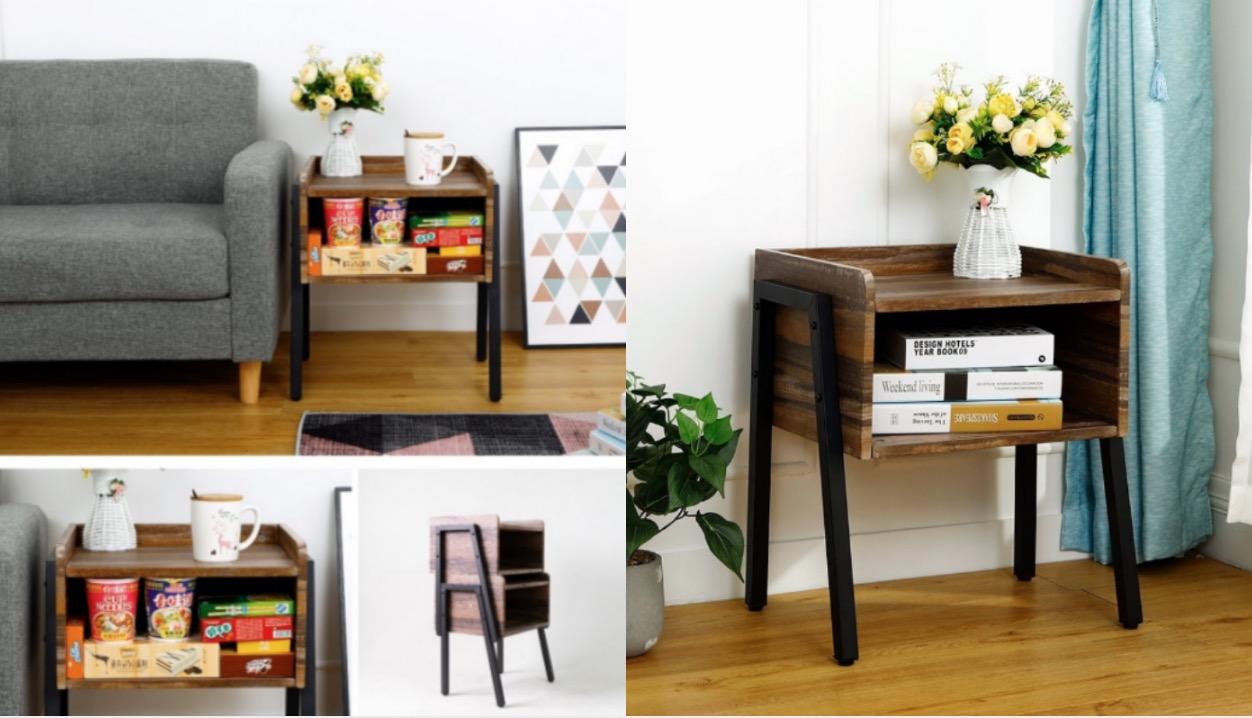 輕工業復古木紋搭配高質感黑砂烤漆,還能疊層收納隨意擺用,是家裡好看又好放的收納幫手。