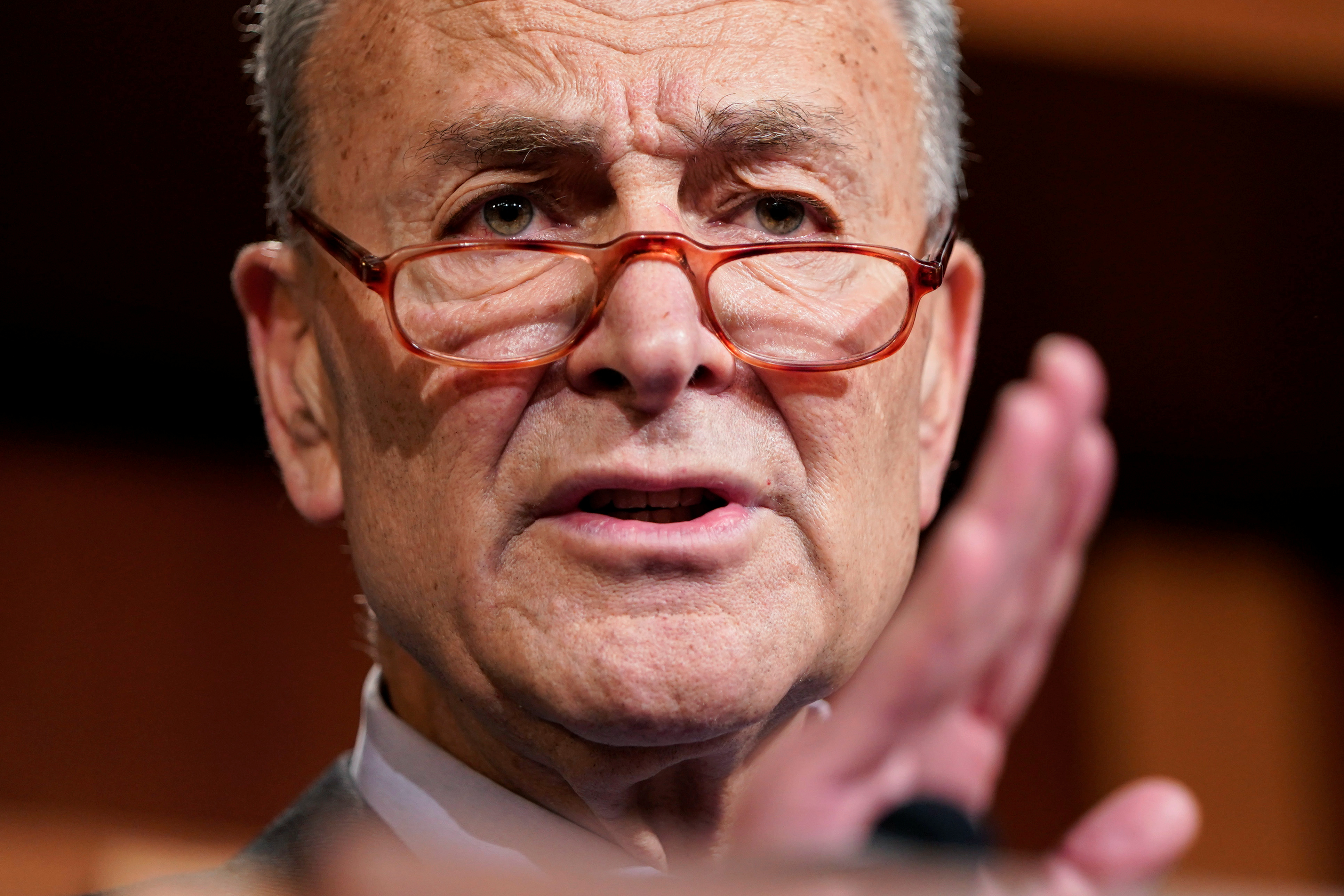 Senate Minority Leader Chuck Schumer (D-NY) speaks during media briefing after the impeachment trial of U.S. President Donald Trump ended for the day in Washington, U.S., January 25, 2020.  (Photo: Joshua Roberts/Reuters)