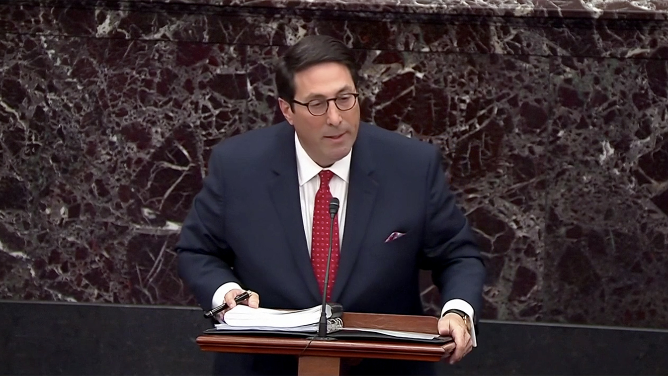 White House Counsel Jay Sekulow makes arguments against the removal from office of US President Donald J. Trump during the President's impeachment trial in the US Senate in the US Capitol in Washington, DC on Saturday, January 25, 2020. (Screengrab: Senate TV via Yahoo News)