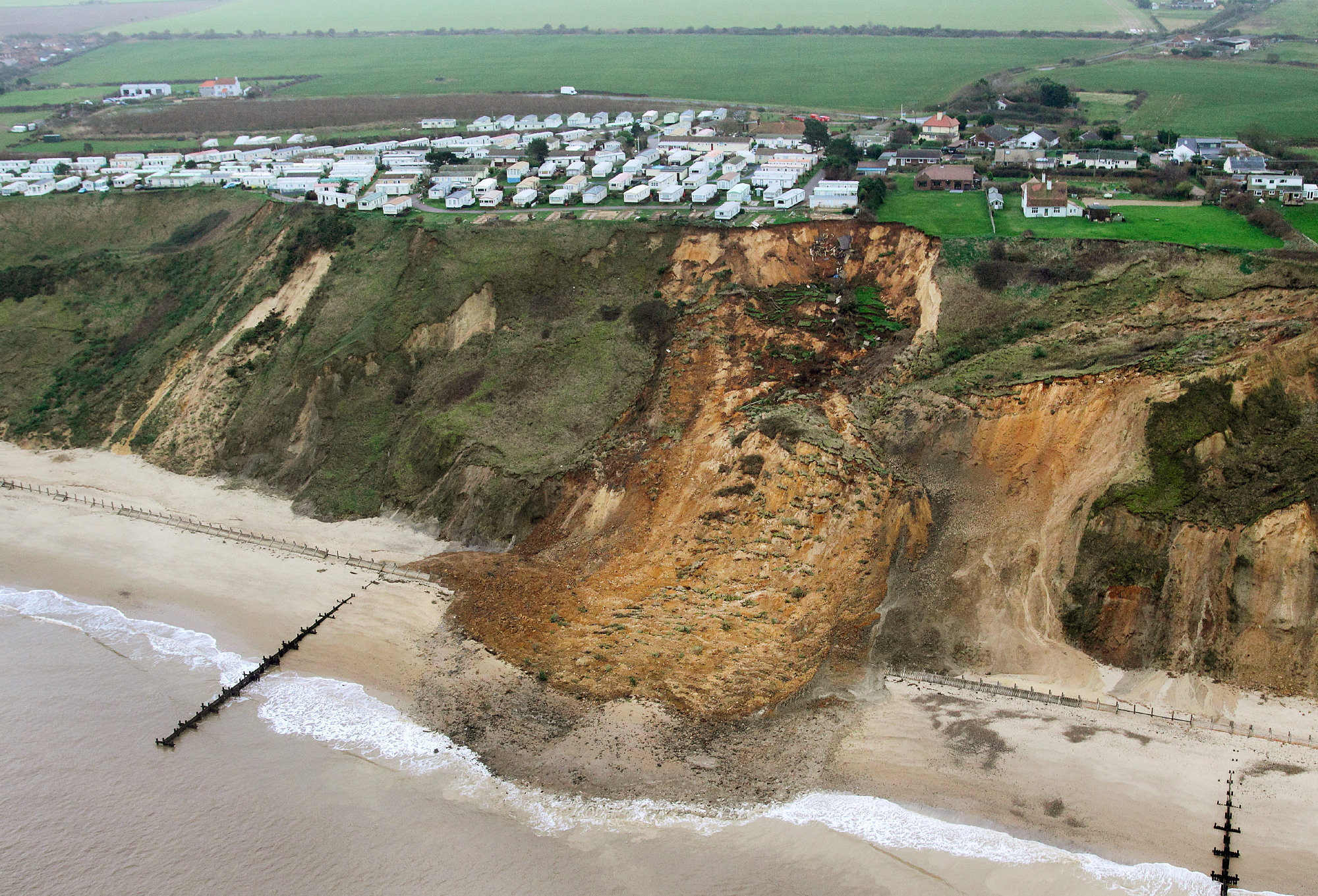 The landslide was described as the size of two football pitches (Picture: SWNS)