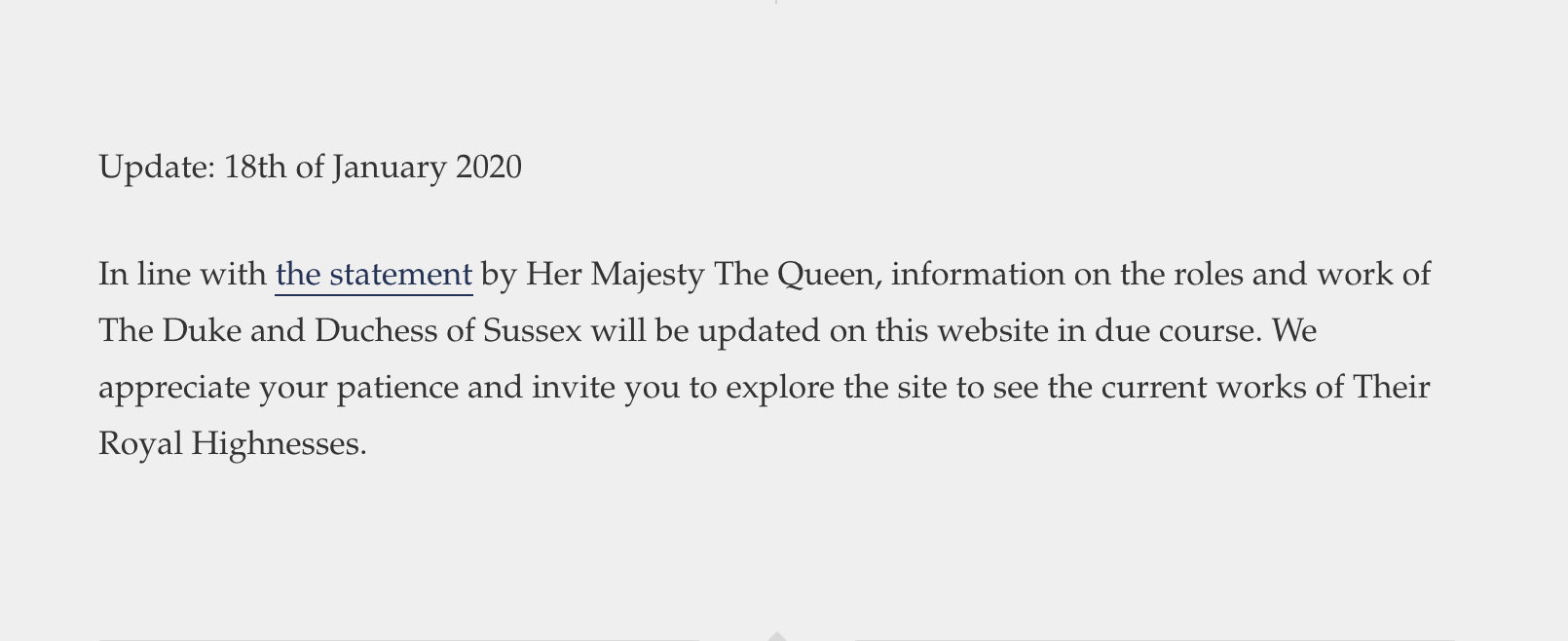 The announcement on the couple's website in the immediate aftermath referred to themselves as 'Their Royal Highnesses', despite the fact they plan to drop their HRHs (Picture: SussexRoyal)