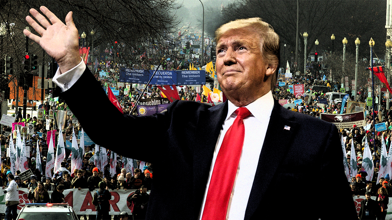 President Donald Trump; and, anti-abortion activists march towards the U.S. Supreme Court, during the March for Life in Washington on Jan. 18, 2019. (Photo illustration: Yahoo News; photos: AP, Jose Luis Magana/AP)