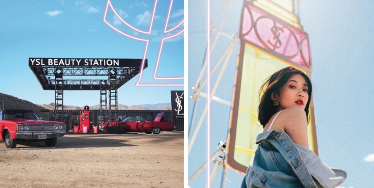 精心打造的試妝區,陳列著女性最愛的YSL明星商品…包括2020全新「情挑誘光水唇膏」、「情挑誘吻星鑽蜜唇膏」、「恆久完美無瑕粉底系列」、「慾望巴黎香水系列」