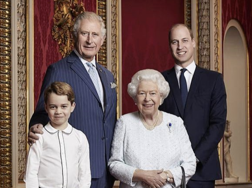 The photo of the Queen, Charles William and George.