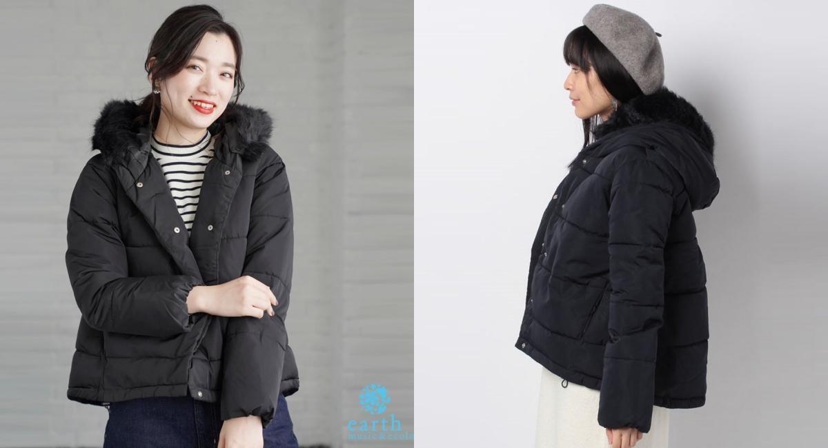 毛毛連帽中空纖維短版大衣外套,輕盈舒適的設計