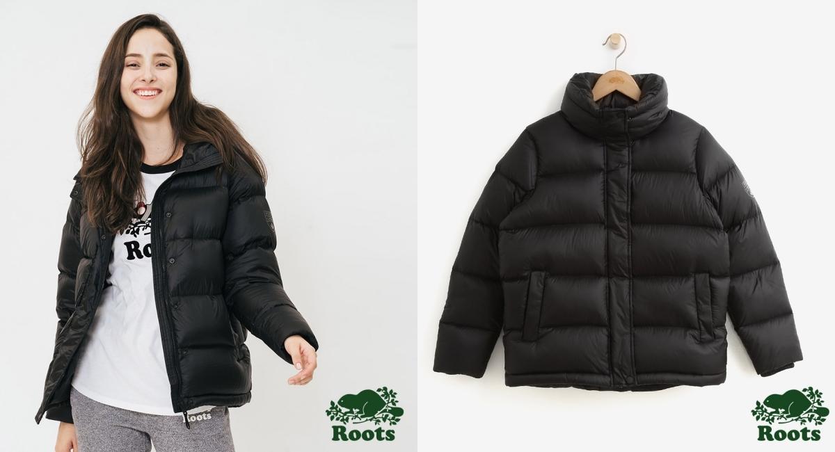 時尚休閒品牌Roots經典的黑色立領羽絨外套