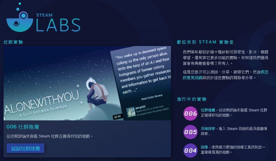Steam 實驗室有許多特別的搜尋功能。(圖源:Steam)