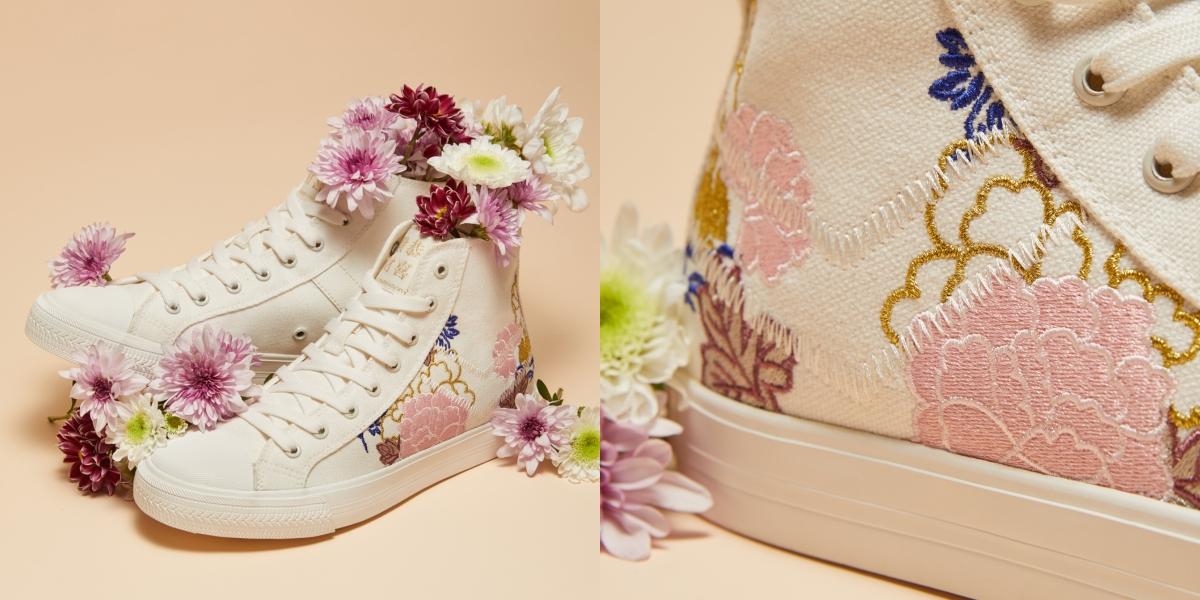 古典細緻的刺繡工藝將花朵活靈活現地綻放在經典鞋款【Shooter帆布鞋】的鞋面