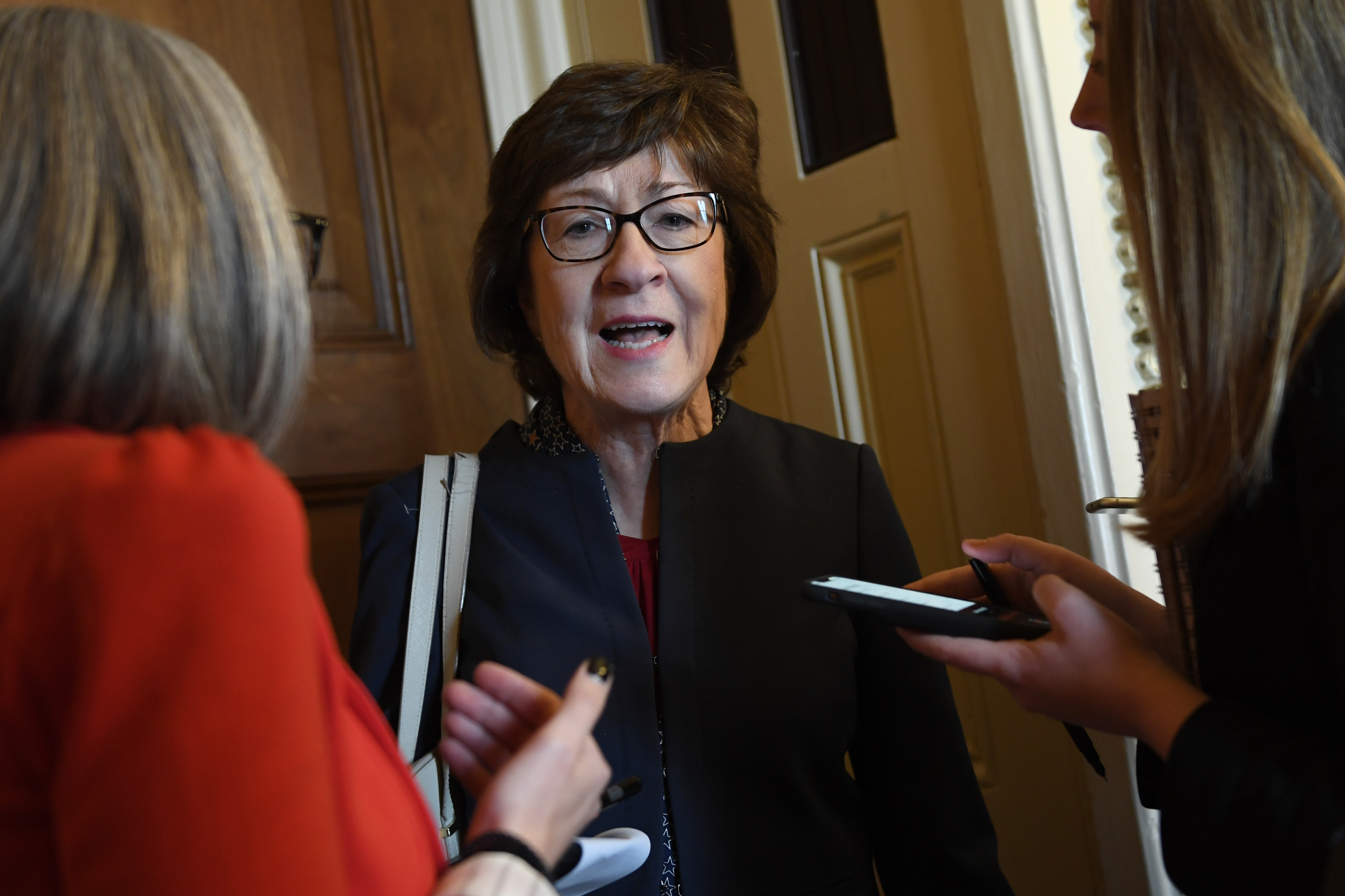 Sen. Susan Collins, R-Maine, talks to reporters on Capitol Hill