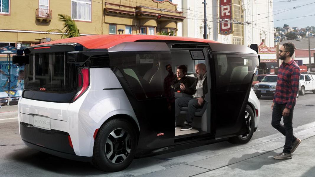 圖/「Origin」由通用汽車、Cruise Automation與本田費時三年共同開發,有著前衛時尚的外型,配備有點像地鐵的滑動拉門設計。