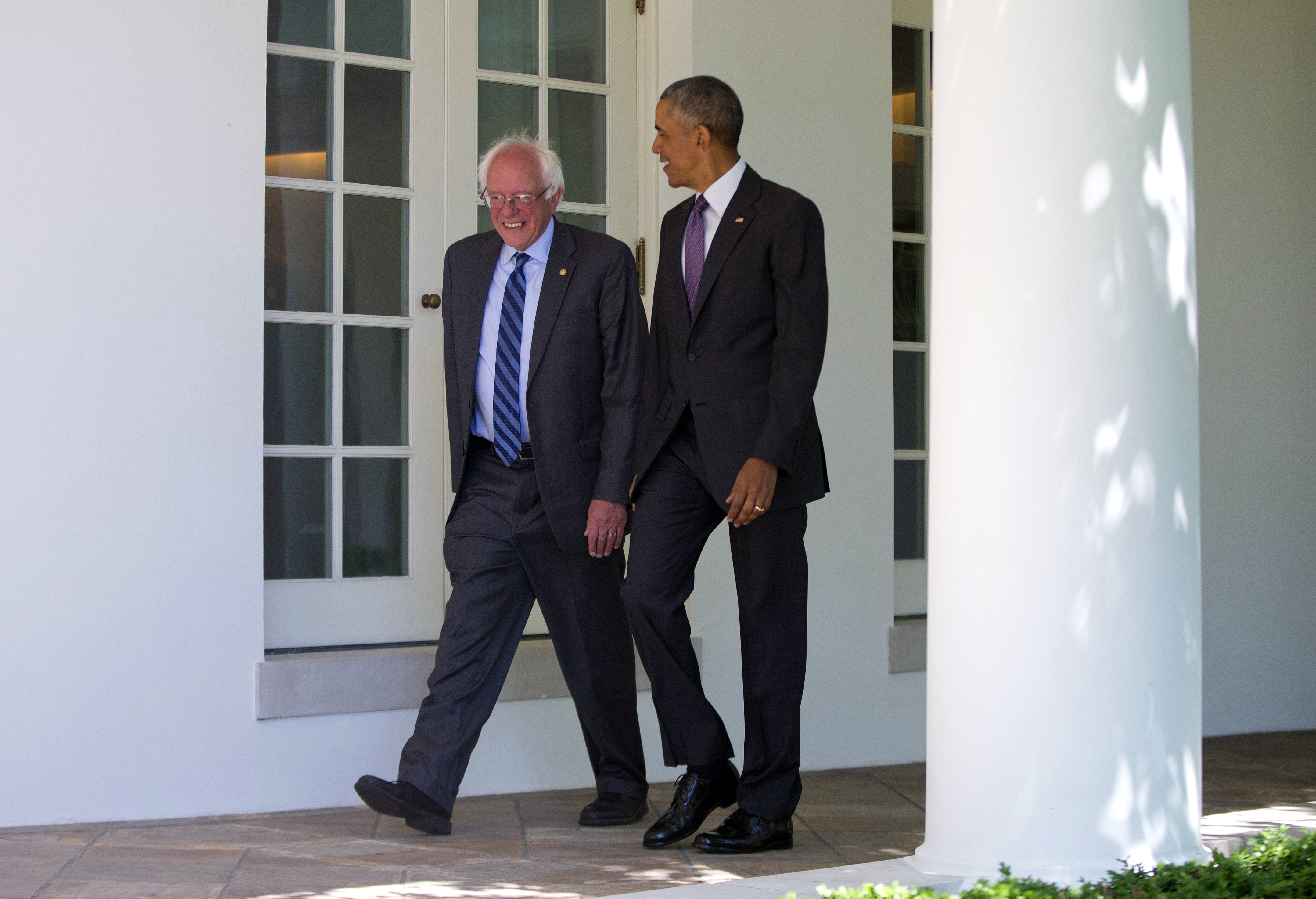 President Barack Obama walks with Democratic presidential candidate Sen. Bernie Sanders, I-Vt., down the Colonnade of the White House in Washington, Thursday, June 9, 2016. (Photo: Pablo Martinez/AP)