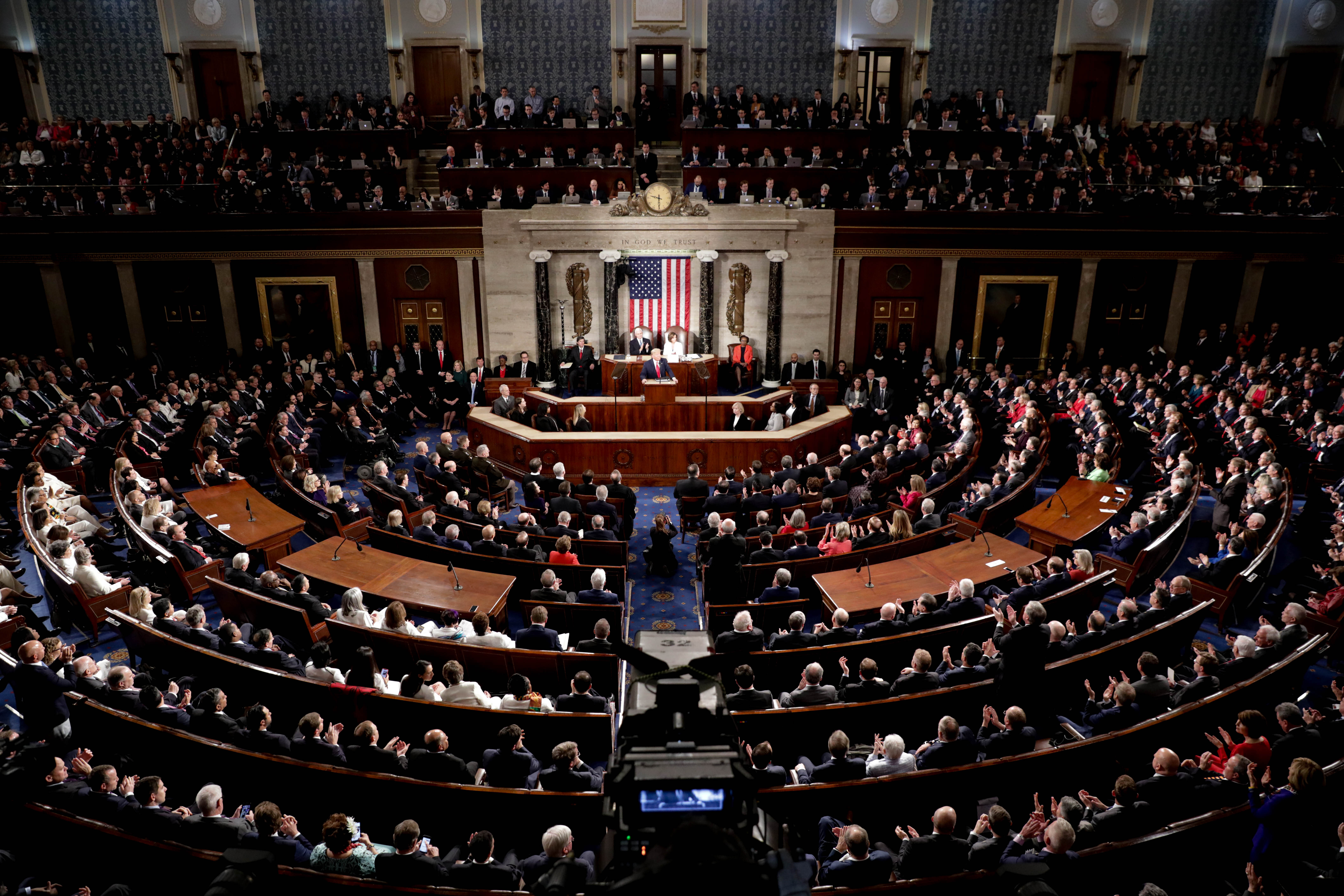 President Donald Trump delivers his State of the Union address at the US Capitol in Washington DC, United States on February 04, 2020. (Yasin Ozturk/Anadolu Agency via Getty Images)