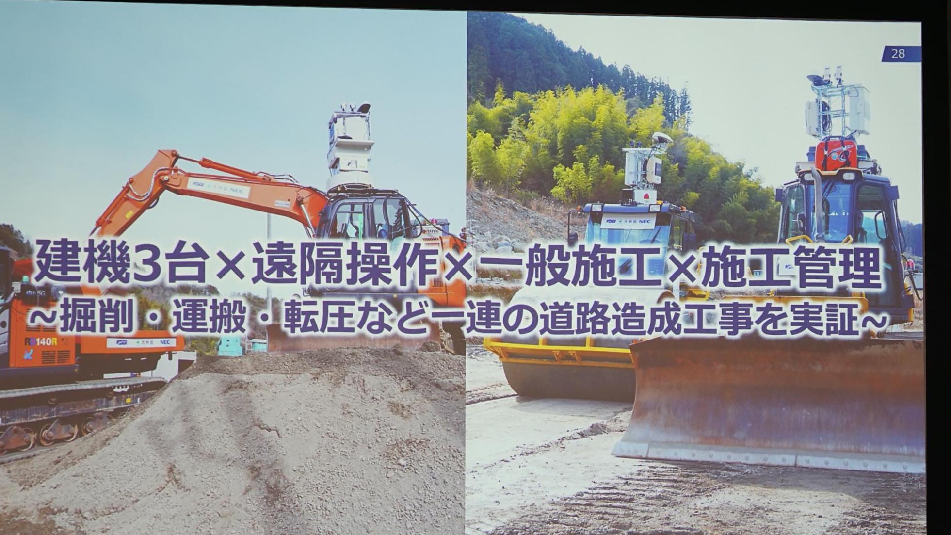 KDDI・大林組・NEC 5G建機実証実験