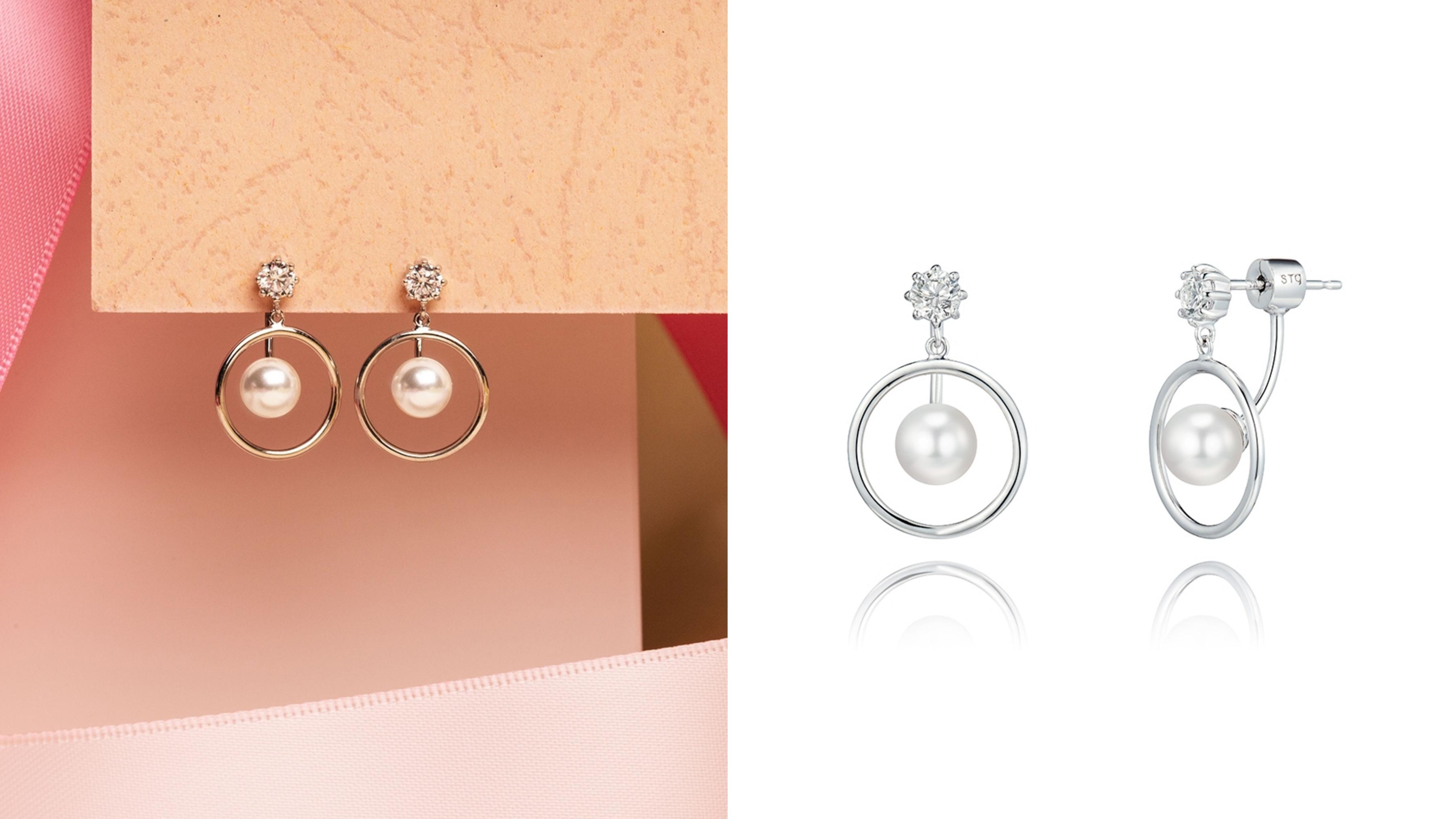 韓劇觸及真心同款,925純銀搭配立方設計,採擷珍珠光彩,令日常完美穿搭更添驚豔一筆。