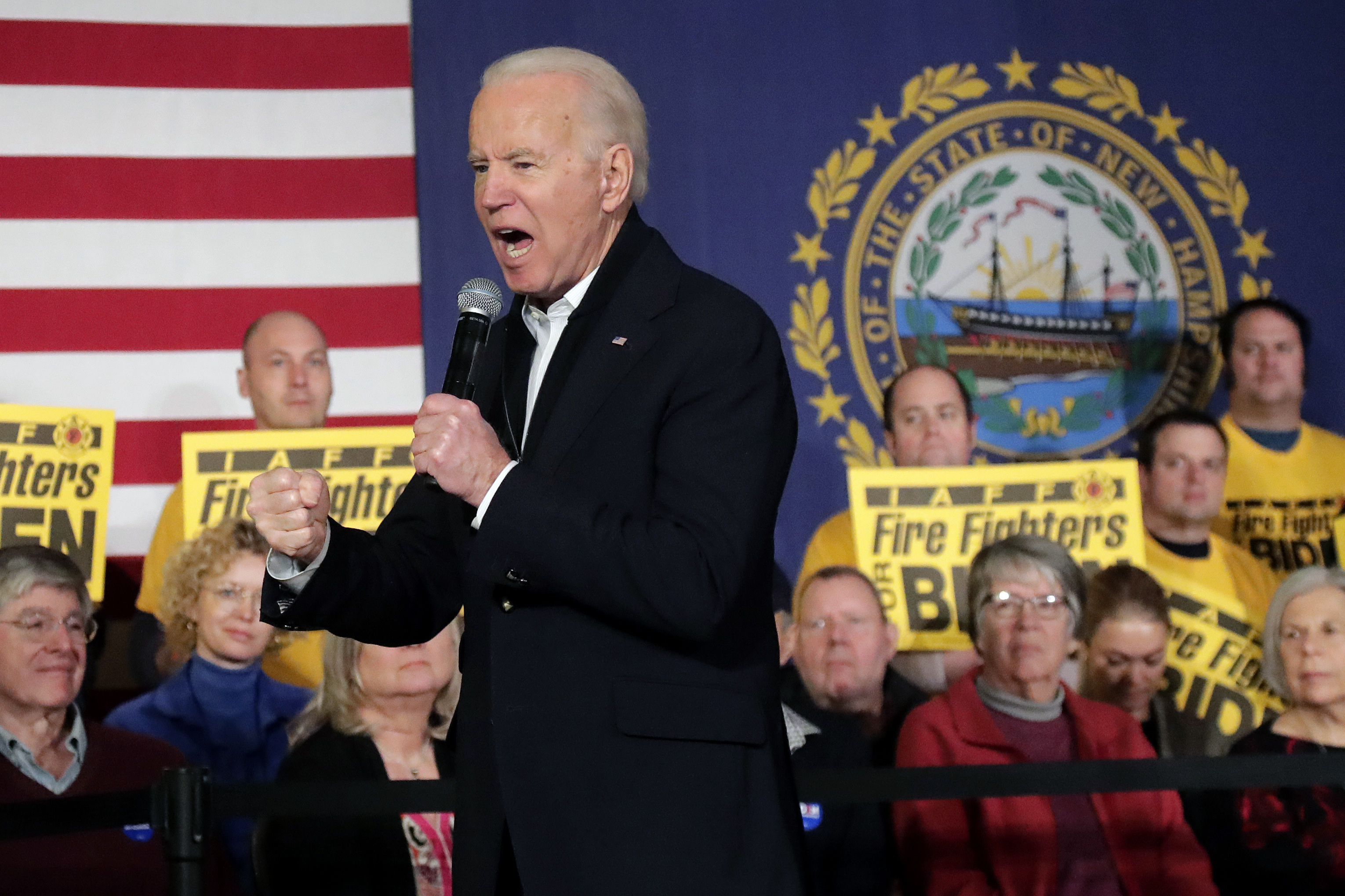 Democratic presidential candidate former Vice President Joe Biden clenches his fist as he speaks at a campaign event, Wednesday, Feb. 5, 2020, in Somersworth, N.H. (Elise Amendola/AP)