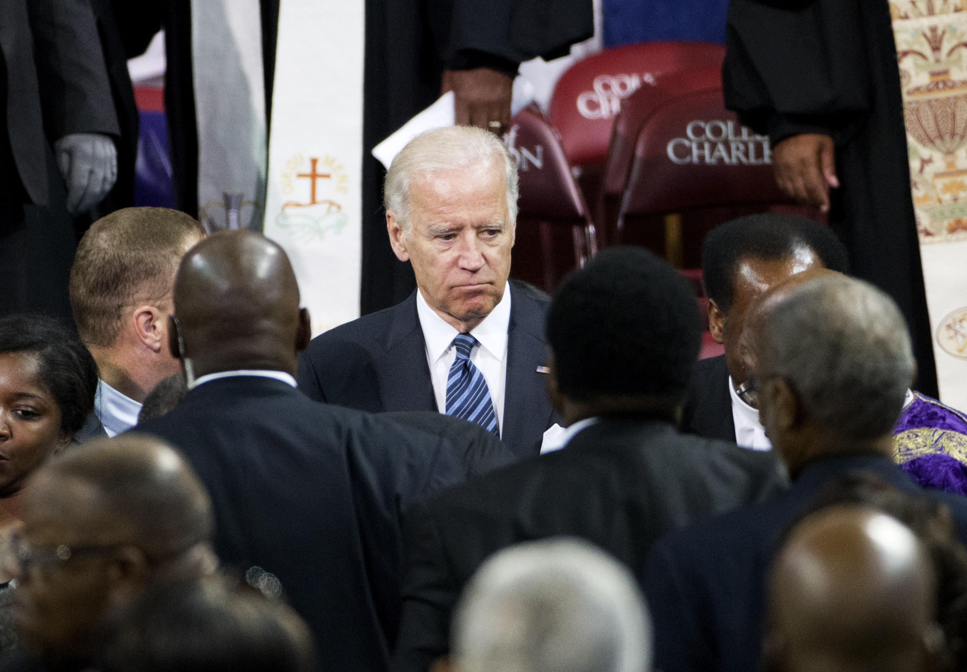 Vice President Joe Biden walks through the crowd at the funeral service for Rev. Clementa Pinckney on June 26, 2015, in Charleston, S.C. (David Goldman/AP)