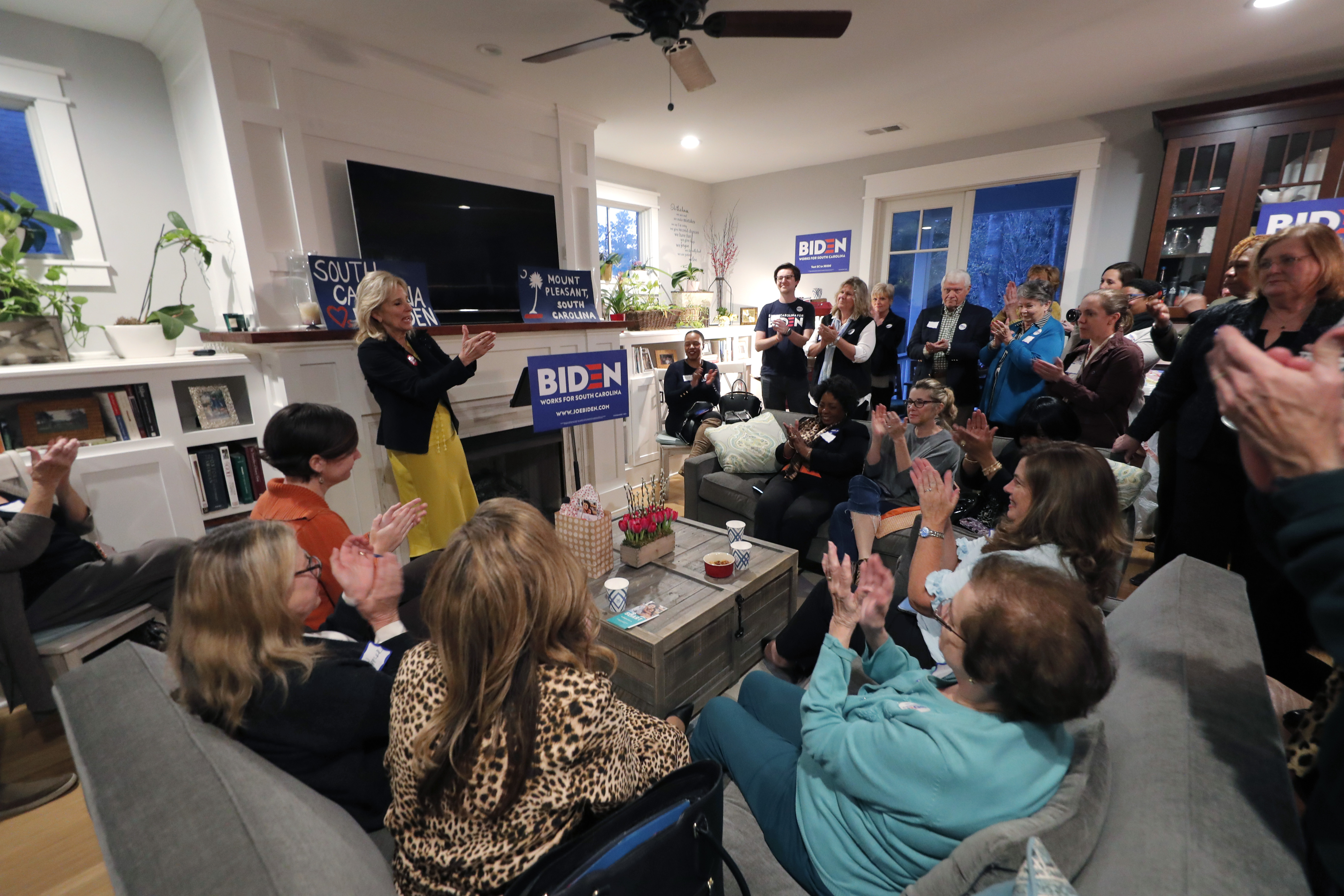 Jill Biden, wife of Democratic presidential candidate and former Vice President Joe Biden, speaks at a campaign event at the home of state senate candidate Richard Hricik in Mt. Pleasant, S.C. on Feb. 17, 2020. (Gerald Herbert/AP)