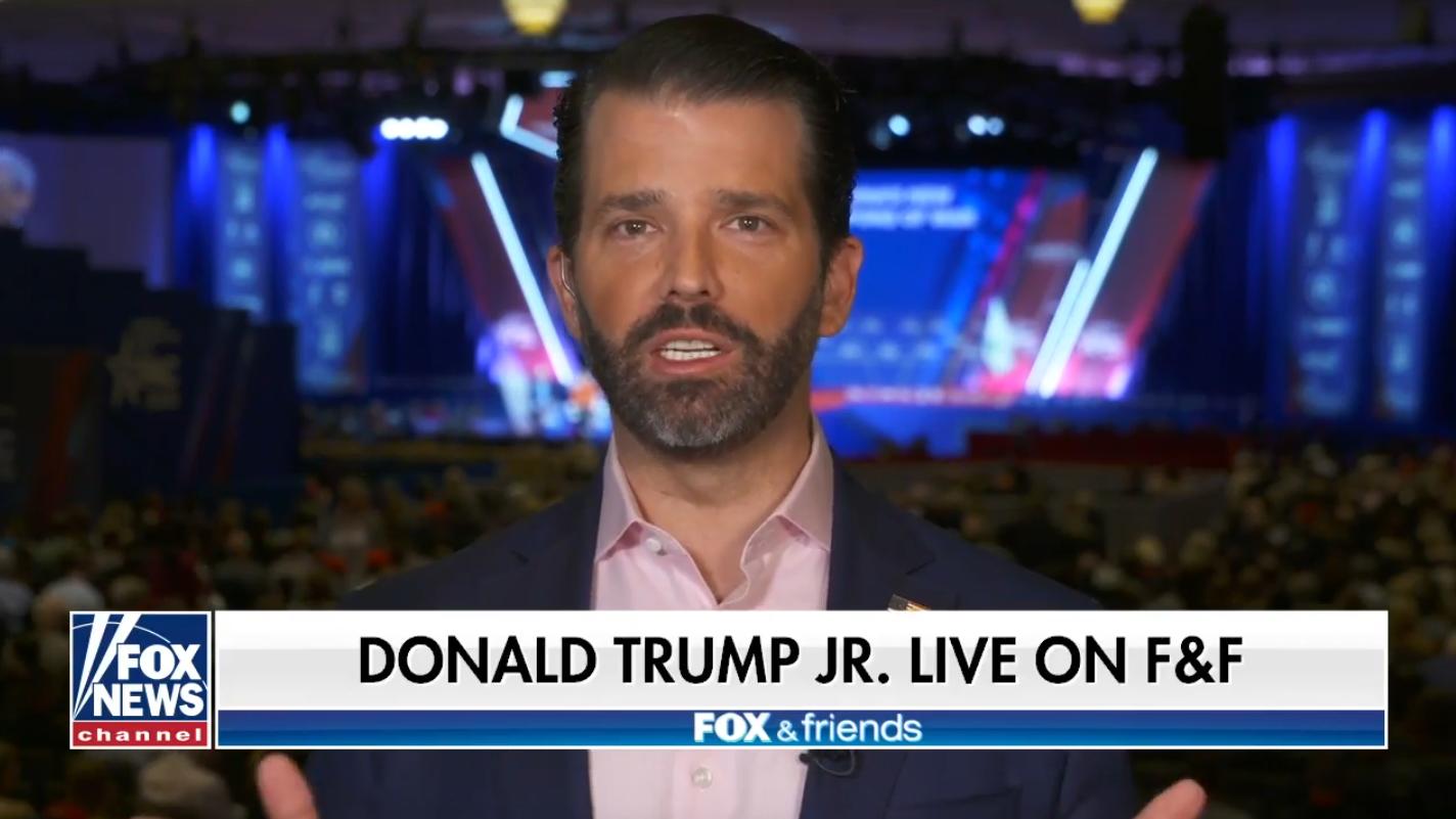 "Donald Trump Jr. appears on ""Fox & Friends"" Friday. (Screengrab via Fox News)"