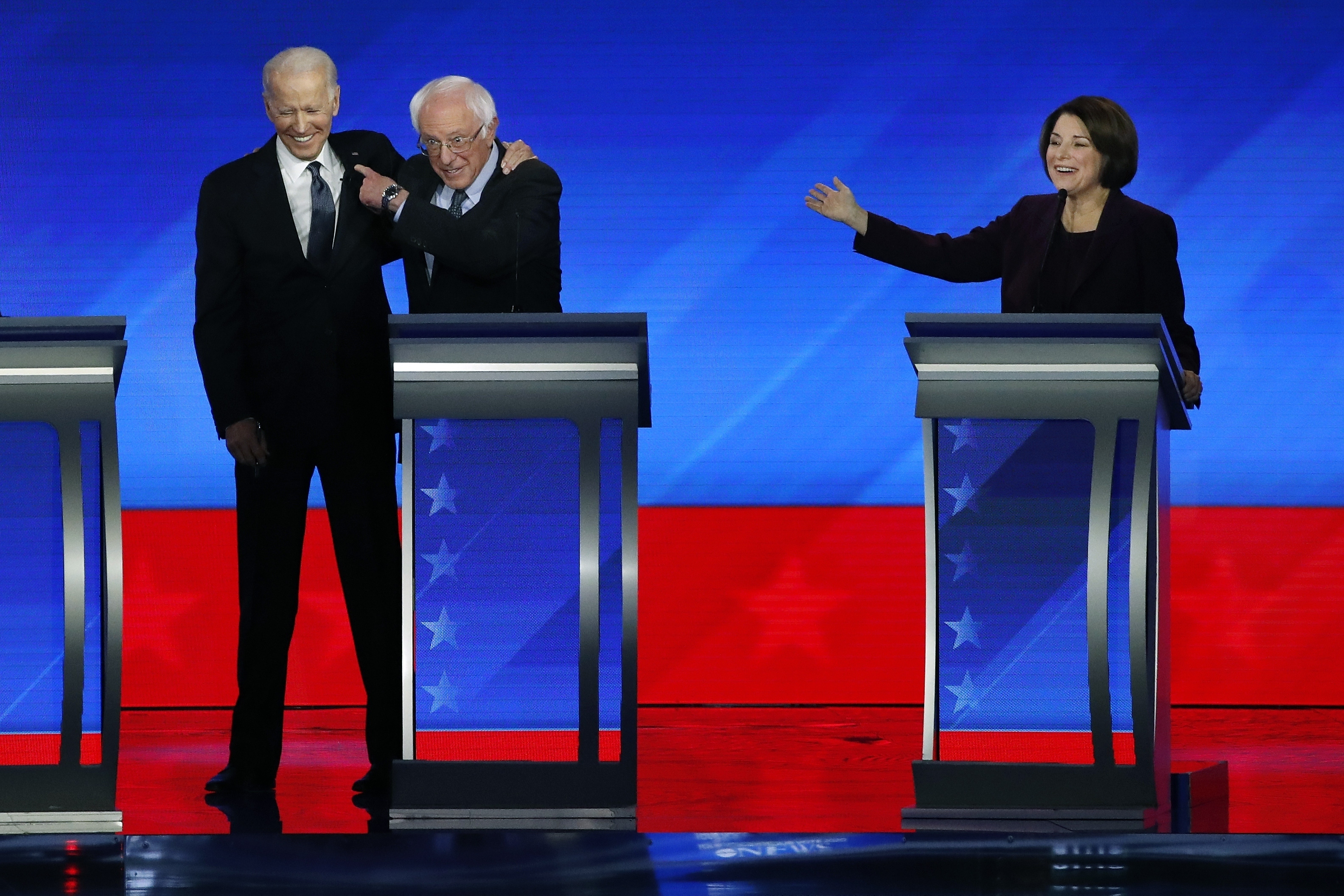 Joe Biden, Bernie Sanders and Amy Klobuchar