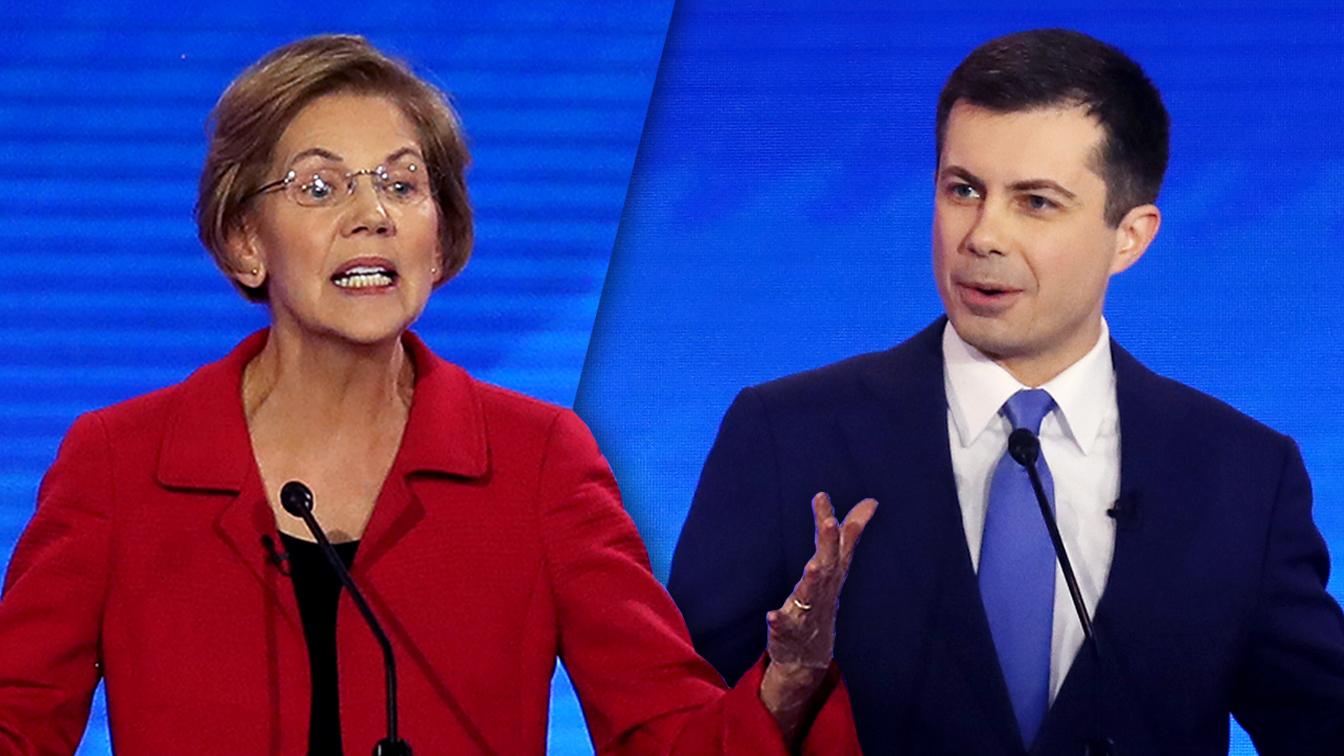 Sen. Elizabeth Warren and Mayor Pete Buttigieg. (Joe Raedle/Getty Images (2))
