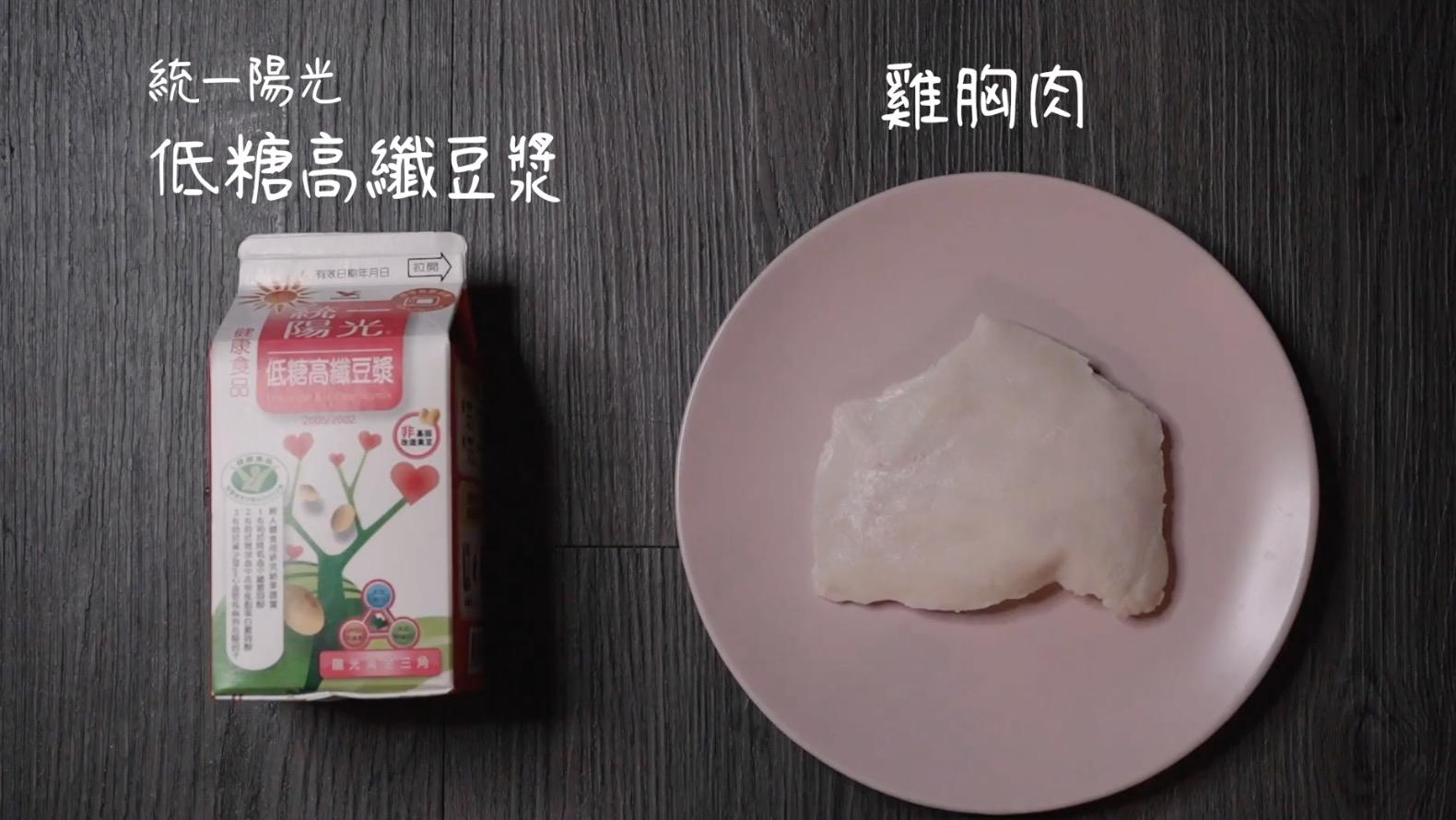 解嘴饞的蛋白質多多餐 。搭配組合:超商雞胸肉、低糖高纖豆漿