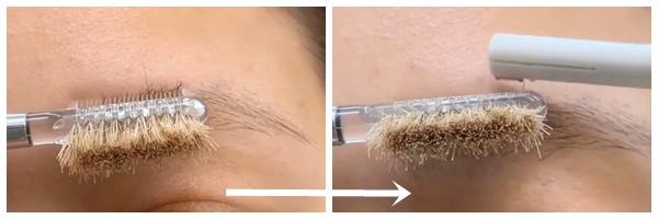 使用眉梳將中央較濃的部位向上梳,以眉毛迷你剃刀輕輕剔除