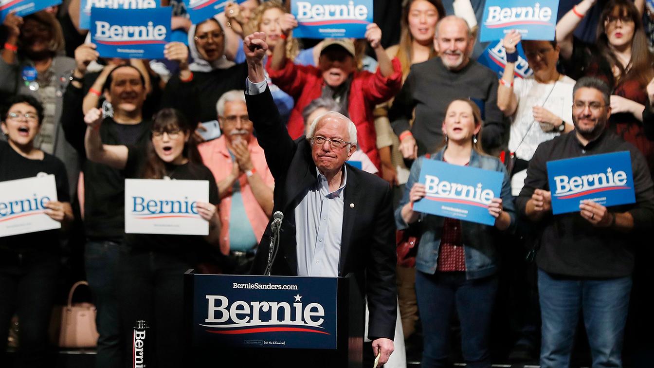 Sen. Bernie Sanders takes the stage in El Paso, Texas, on Saturday. (Mike Segar/Reuters)