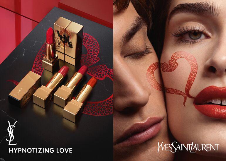 YSL將最經典的金色方管「奢華緞面唇膏」換上情人節限定包裝