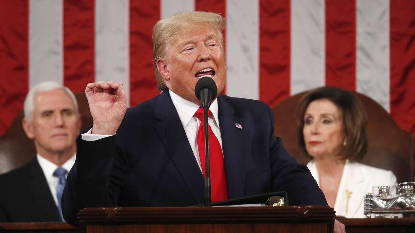 President Donald Trump delivers his State of the Union address to a joint session of the U.S. Congress in the House Chamber of the U.S. Capitol in Washington, U.S. February 4, 2020. (Leah Millis/POOL via Reuters)