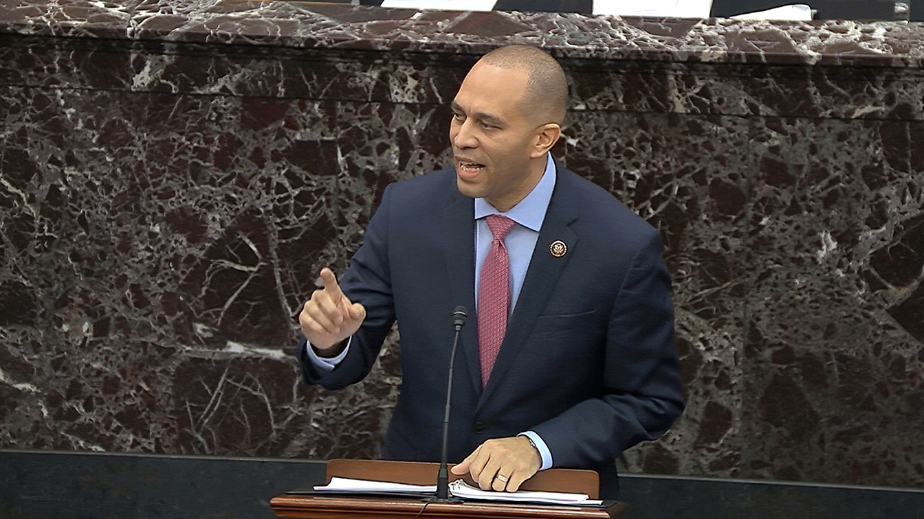 House impeachment manager Rep. Hakeem Jeffries, D-N.Y., speaks during closing arguments in the impeachment trial against President Donald Trump in the Senate at the U.S. Capitol in Washington, Monday, Feb. 3, 2020. (Senate Television via AP)