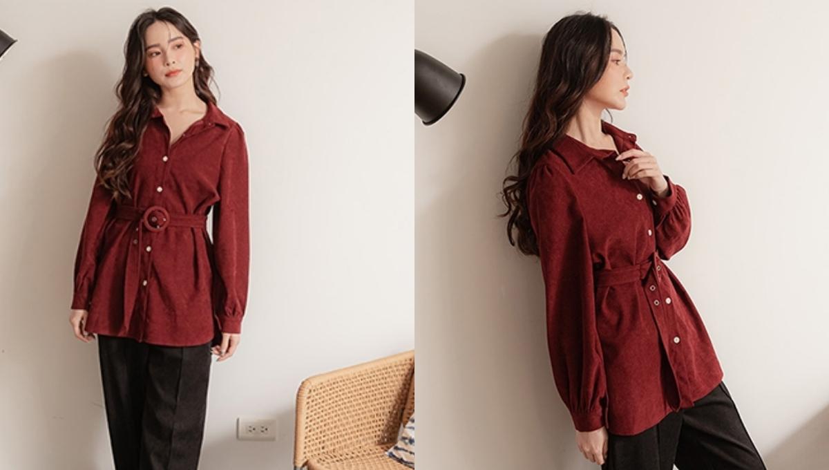復古時尚的燈芯絨材質,長版排扣設計並附上寬腰帶
