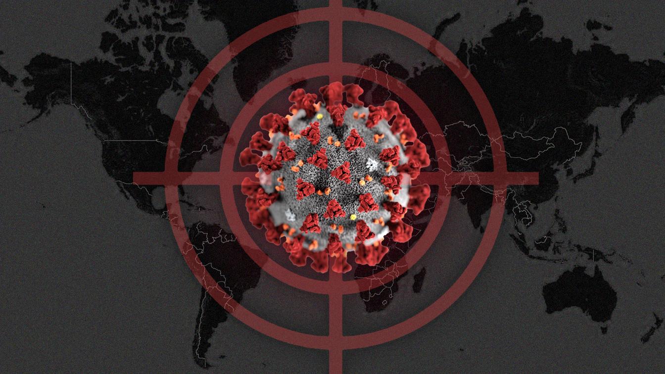 World map with coronavirus graphic in crosshairs