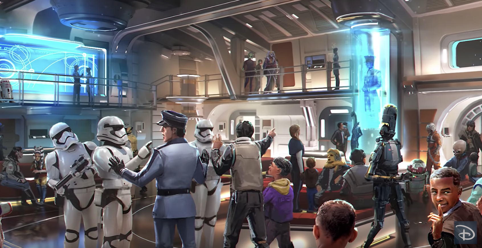 "Families can stay up to two nights at the planned ""Star Wars"" hotel at Walt Disney World Resort in Orlando, depicted here in an artist's rendering. (Photo: Disney Parks via YouTube)"