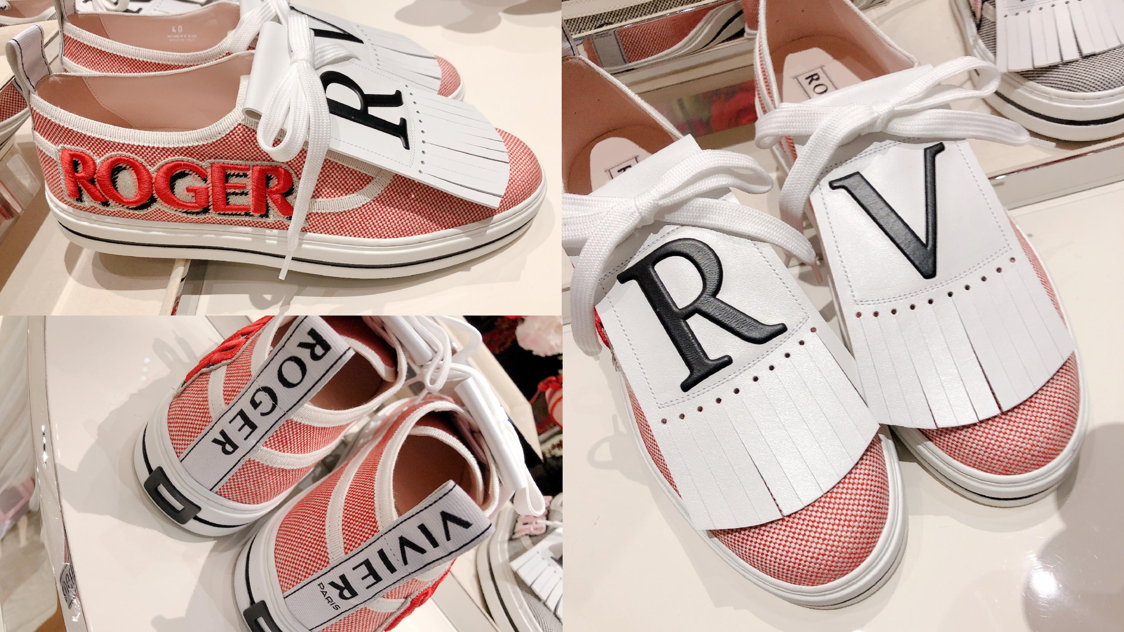 休閒鞋款以帆布布料打造,鞋面附有可拆卸式「RV」字樣皮革流蘇