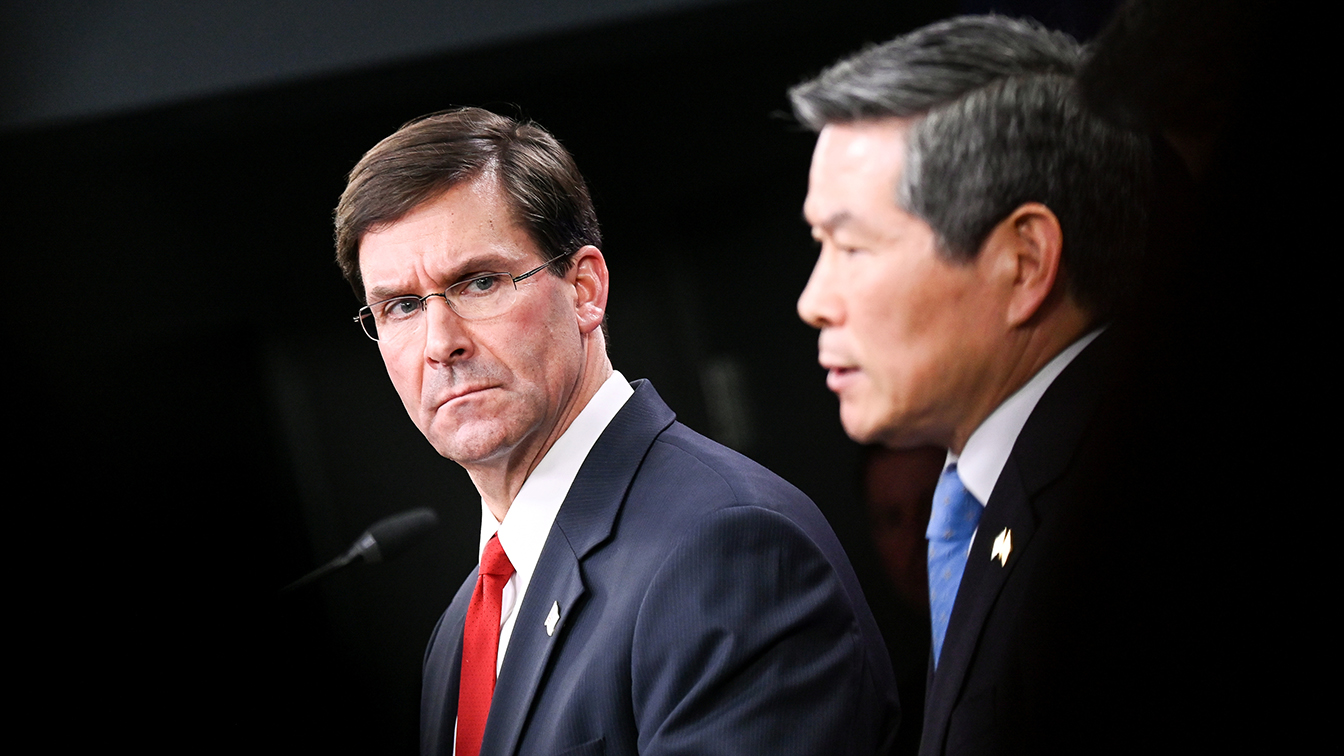 U.S. Defense Secretary Mark Esper and South Korea's National Defense Minister Jeong Kyeong-doo participate in a news conference at the Pentagon in Washington, U.S., February 24, 2020. (Erin Scott/Reuters)