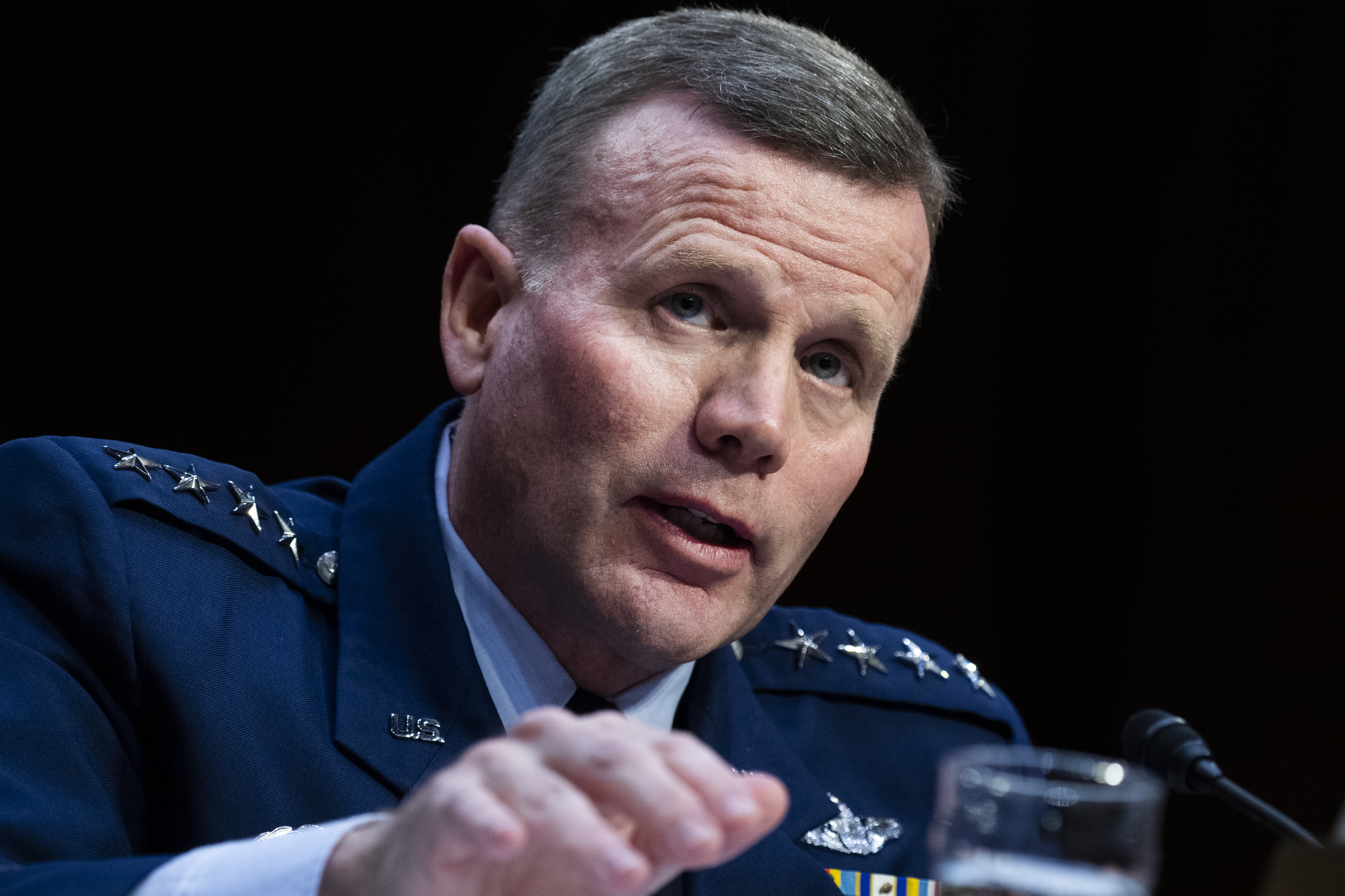 Air Force Gen. Tod D. Wolters, commander, U.S. European Command and NATO's Supreme Allied Commander Europe, and Army Gen. Stephen R. Lyons, off camera,  commander, U.S. Transportation Command, testify during the Senate Armed Services Committee hearing on their respective commands in Hart Building on Tuesday, February 25, 2020. (Tom Williams/CQ Roll Call via Getty Images)