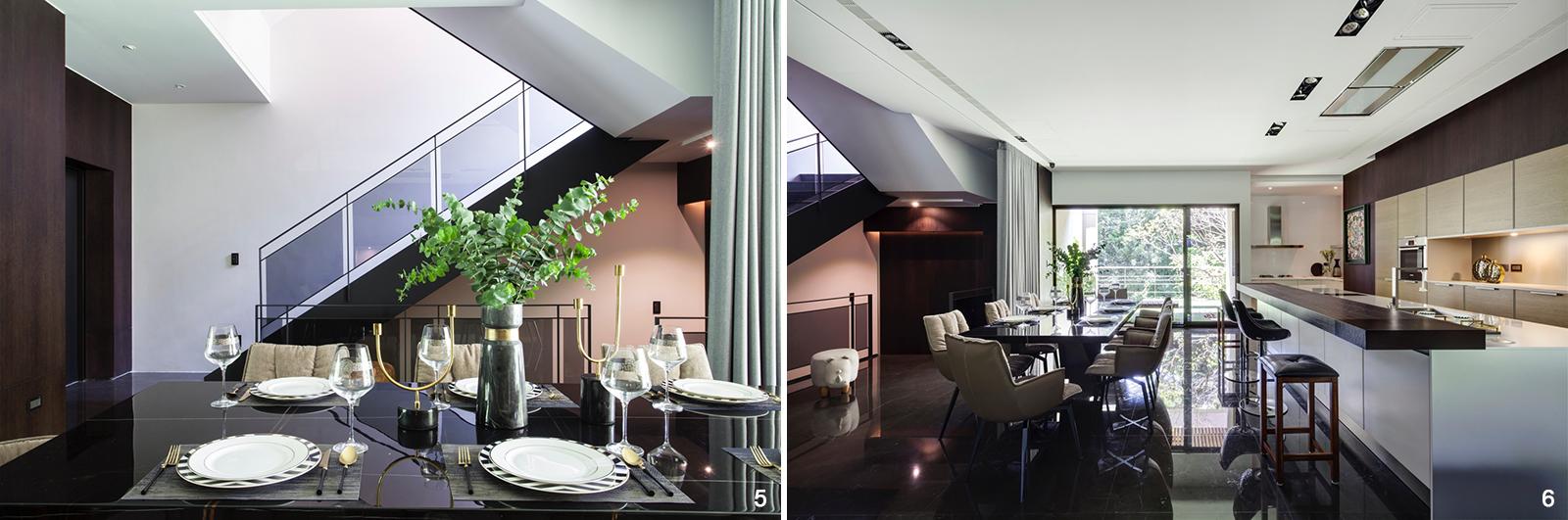 5. 餐桌選用具有獨特的紋理的天然石材,彰顯居家大器質感。 6. 充滿綠意的陽台令日光灑落全室,避免客、餐廳昏暗的問題。