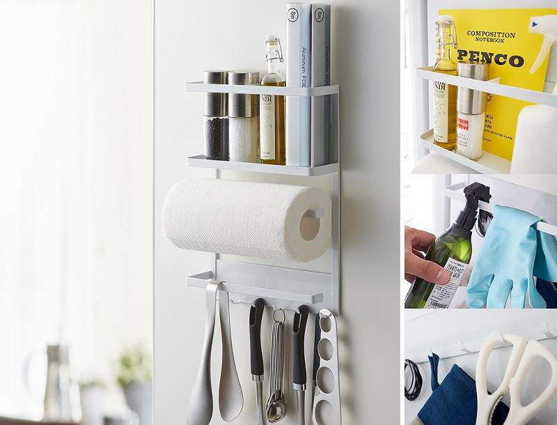 ▲YAMAZAKI磁吸式4合1收納架,原價1380特價899,品牌加碼滿$1500送防水可折疊旅行包,活動期至3/31。日系風格質感,實用美觀。(圖片來源:Yahoo購物中心)