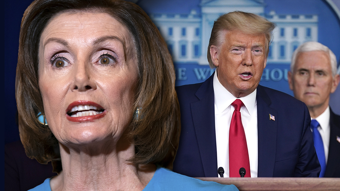 House Speaker Nancy Pelosi and President Donald Trump. (Photo illustration: Yahoo News; photos: AP, Evan Vucci/AP)