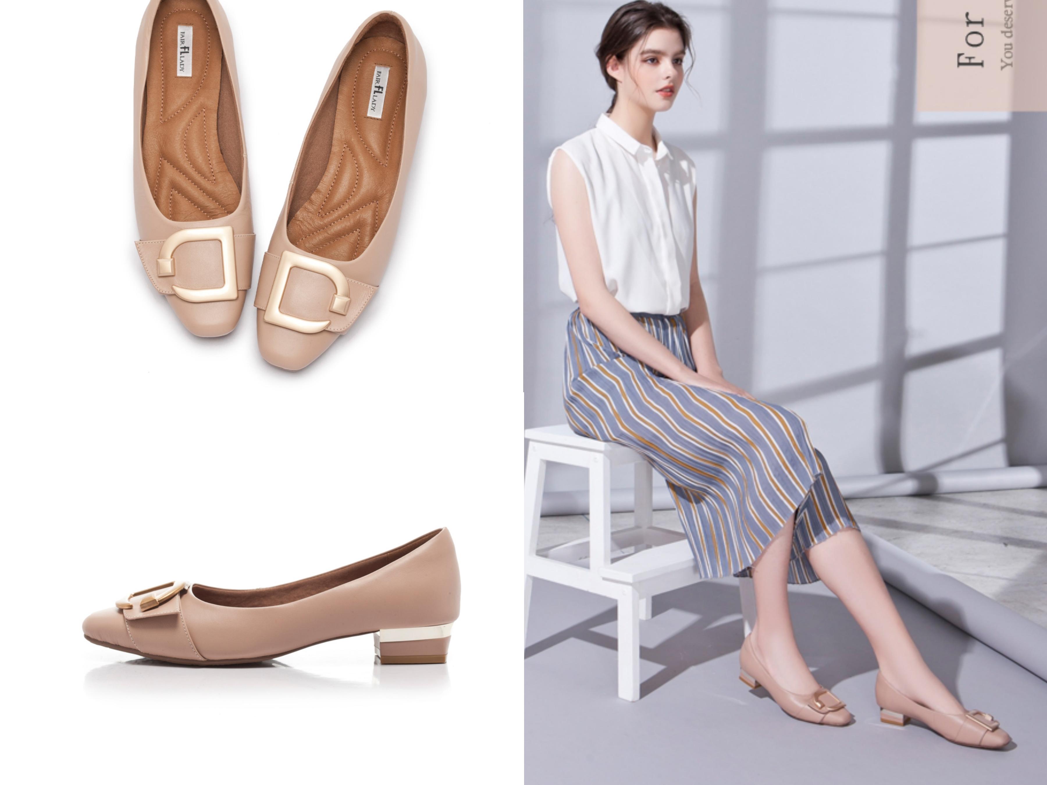 精心打造舒適都會知性鞋款,再加上拼接金屬色塊創造足跟亮點