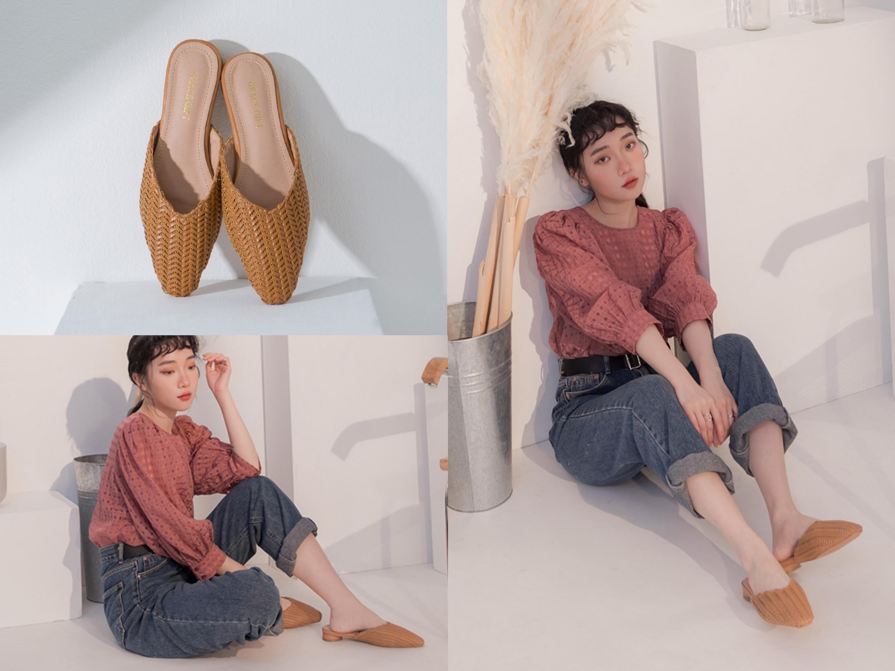 鞋櫃裡必備的百搭款穆勒鞋,鞋面採用夏日氣息的草編材質
