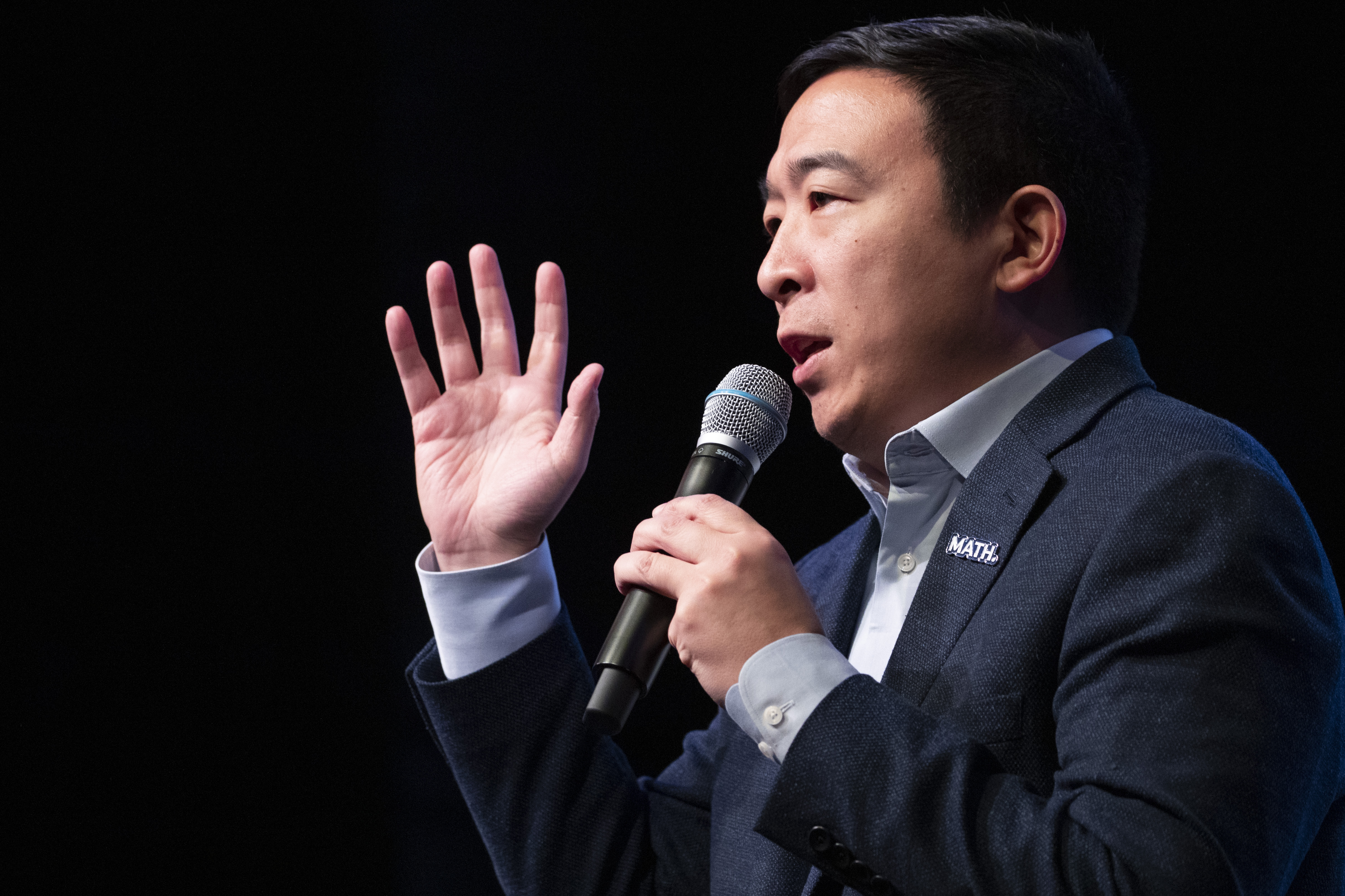 Andrew Yang speaks during the New Hampshire Youth Climate and Clean Energy Town Hall on Feb. 5, 2020, in Concord, N.H. (Mary Altaffer/AP)