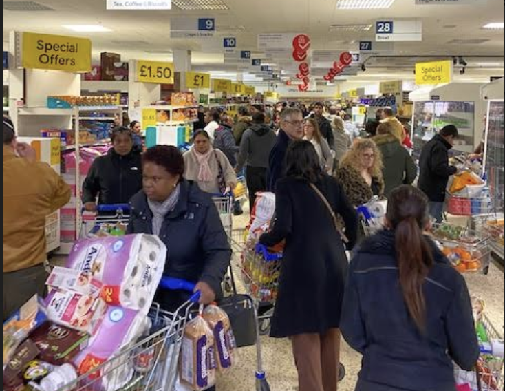 Within 10 mins of doors opening for NHS workers shopping within their special designated hour at Tesco in Purley, Surrey. Photo: Yahoo Finance UK/Lianna Brinded