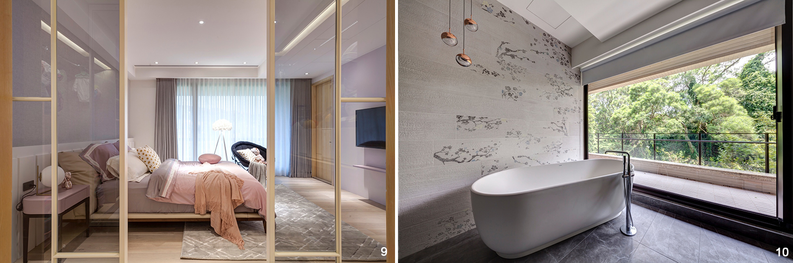 9. 女兒房的衣帽間由白色鐵件玻璃門打造,增加室內通透感。 10. 浴室偌大的落地窗,洗澡時能一邊欣賞戶外雅致。