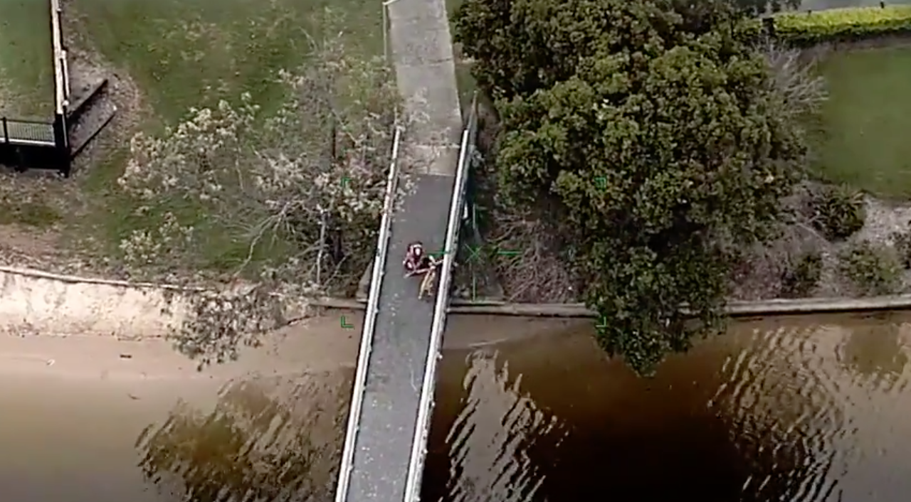 Queensland Police footage shows a dog walker tackling a suspect to the ground on a bridge.