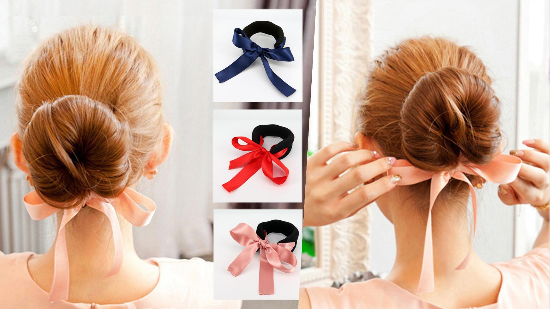 這個不只操作簡單,還有附一個緞帶蝴蝶結,不用技巧就能做出超甜美的髮型!