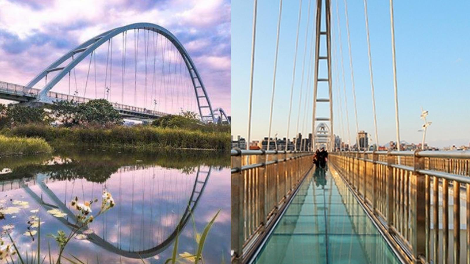 新北市最大的行人與自行車專用陸橋,不對稱雙拱造型,優雅宛如雙新月,入夜後的燈光點綴彷彿彩色弦月,景色迷人!